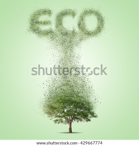 Green tree. Environment eco concept illustration - stock photo