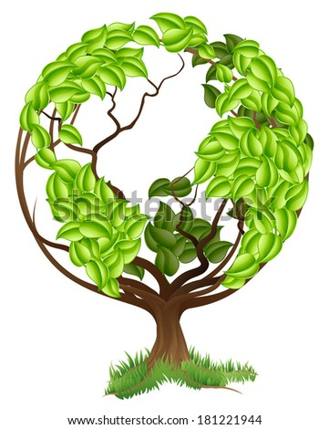 Green tree globe earth world conceptual illustration of a tree growing in the shape of a globe - stock photo
