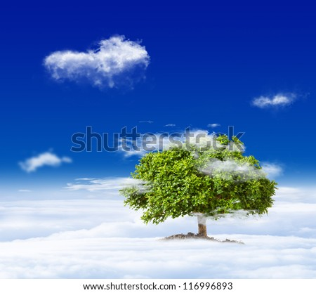 green tree grow on cloud in the sky