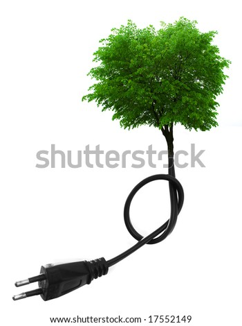 Green tree growing from electric cable  isolated on white. Renewable energy and ecology concept - stock photo