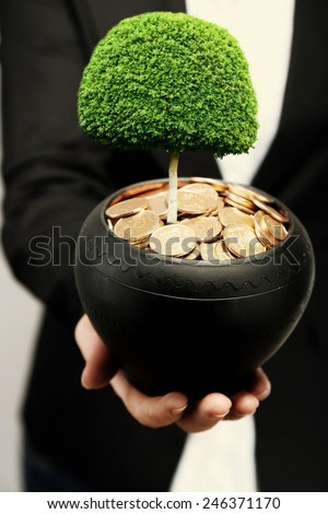 Green tree growing in ceramic pot full of coins, pot in hand - stock photo