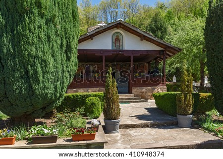 Green Trees and church in Temski monastery St. George, Pirot Region, Republic of Serbia - stock photo