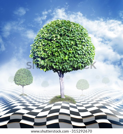 Green trees, blue sky with clouds and abstract fantasy checkerboard floor, optical illusion  - stock photo