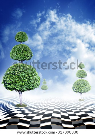 Green trees, blue sky with clouds and abstract fantasy checkerboard floor, optical illusion, spa?e for text  - stock photo