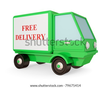 Green truck with red signature FREE DELIVERY. Isolated on white. 3d rendered.
