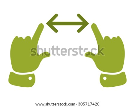 Green Two Hand Slide, Zoom, Wide Infographics Flat Icon, Sign Isolated on White Background - stock photo