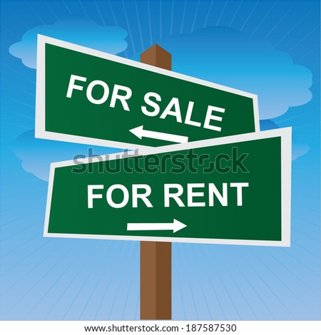 Green Two Way Street or Road Sign Pointing to For Sale and For Rent in Blue Sky Background - stock photo