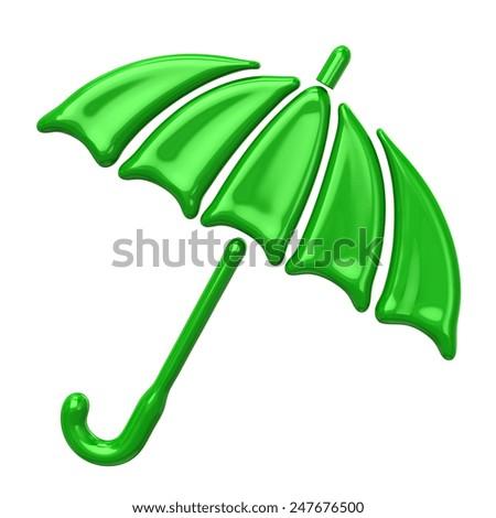 Green umbrella icon - stock photo