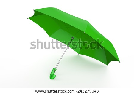green umbrella isolated on white background