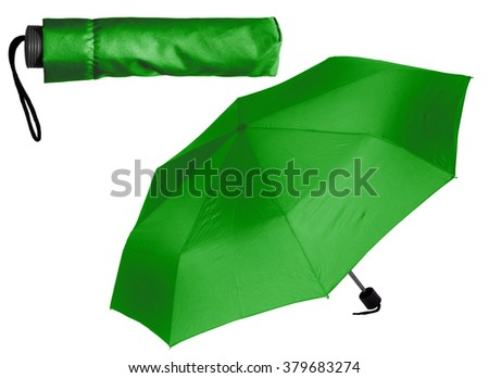Green Umbrella on white background - stock photo