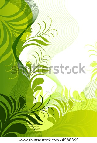 green unique floral elements.