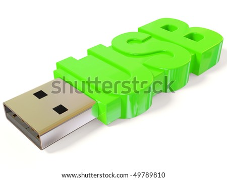 green USB flash on white background