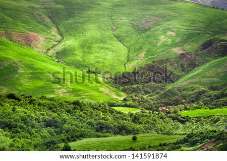 Green valley between the hills in Tuscany - stock photo