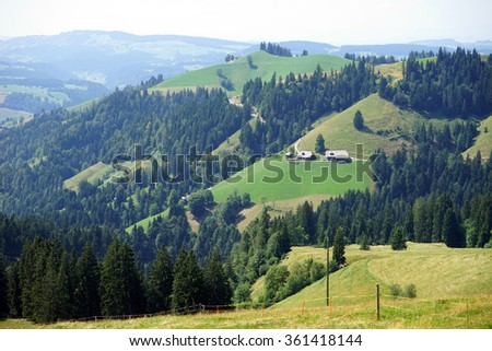 Green valley in rural area of Swiss Alps, Switzerland