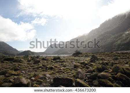 Green valley,moss and stones and Mountain in Franz Josef Glacier, New Zealand South Island  - stock photo