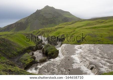 Green valley of Skoga river, Iceland. - stock photo