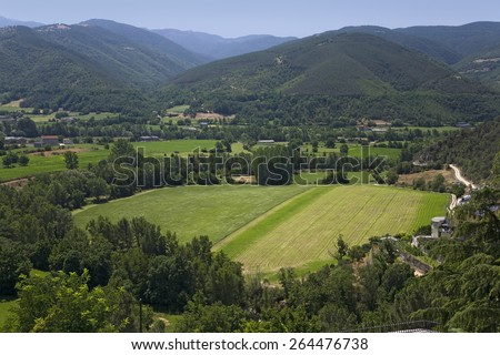 Green valley view of La Seu d'Urgell, (Sa Seu d'Urgell) in Catalunya, Spain, Europe, in Pyrenees Mountains