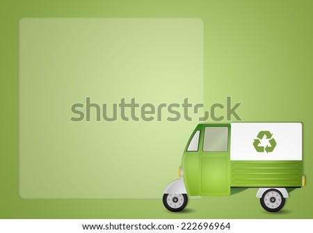 Green van for recycling - stock photo