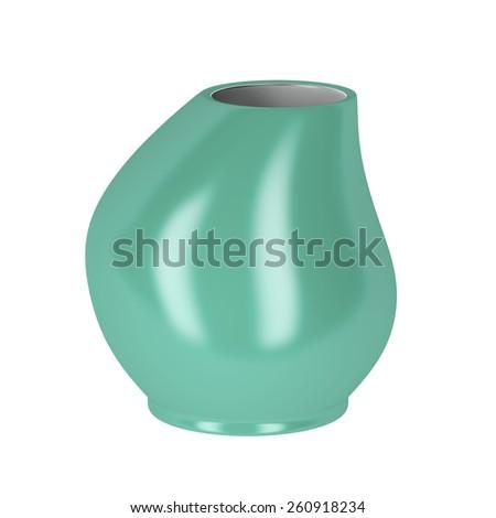 Green vase on white background - stock photo