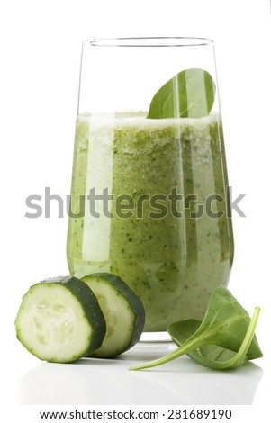 green vegetable drink on the table. Rustic style . Useful vitamin drink made â??â??from green fruit - stock photo