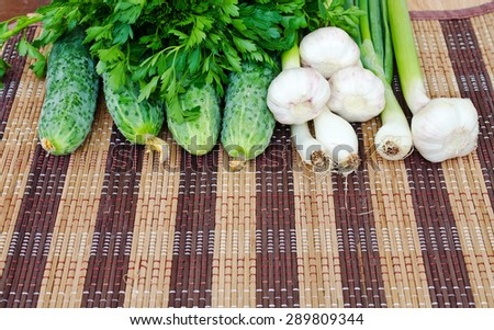 Green vegetable. Fresh herbs and vegetables. Natural products. - stock photo