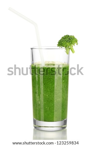 Green vegetable juice in glass isolated on white - stock photo