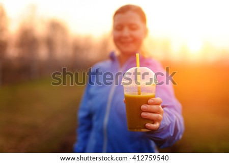 Green vegetable smoothie - healthy eating concept and sports - stock photo