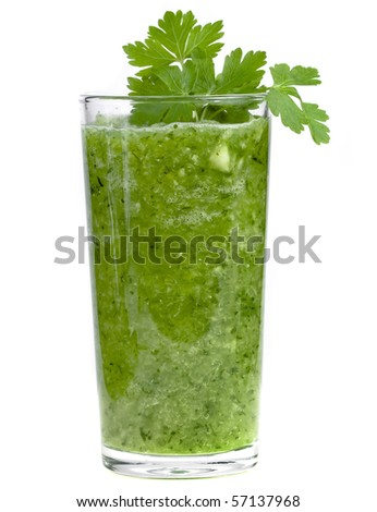 green vegetable smoothie isolated on white background - stock photo