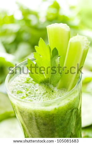 Green vegetable smoothie with celery and cucumber