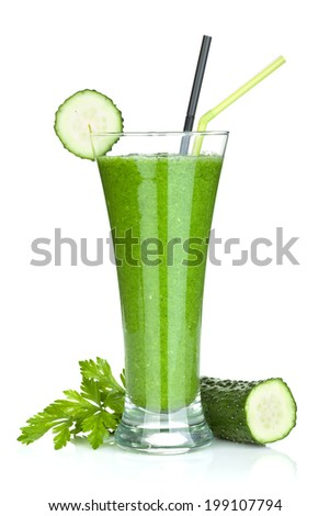 Green vegetable smoothie with cucumber and herbs. Isolated on white background - stock photo