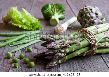 Green vegetables: asparagus, broccoli, peas, green beans, artichoke - stock photo