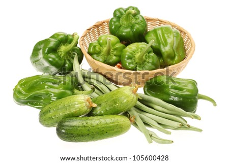 Green vegetables on the white background