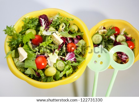 Green vegetarian salad in yellow dish - stock photo