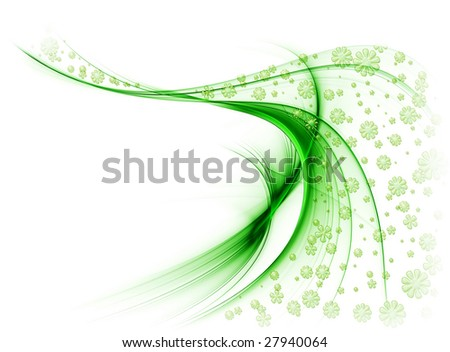 Green veil of flowers in the wind, on a white background - stock photo