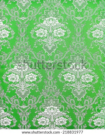 green vintage fabric with  decor