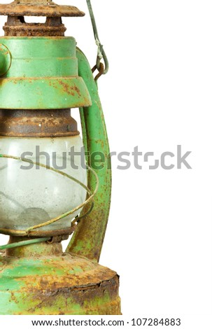 Green vintage lamp isolated on white background