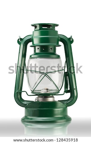 Green vintage Lamp (with clipping path) - stock photo