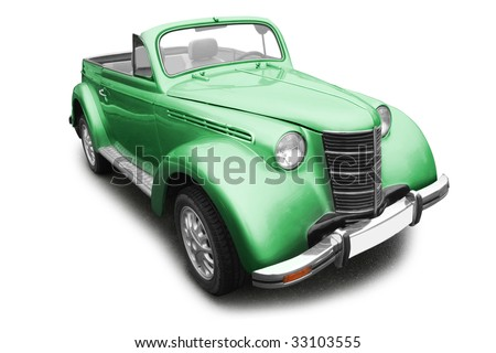 green vintage old car isolated on white background - stock photo