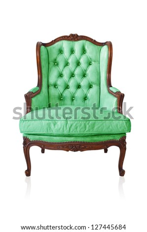 Green vintage style sofa isolated on white background.