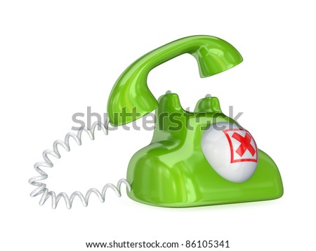 Green vintage telephone with red cross mark.Isolated on white background.3d rendered. - stock photo
