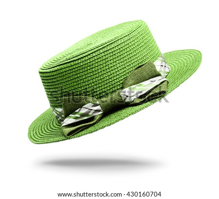 Green vintage woman hat isolated on white background, Saved clipping path.