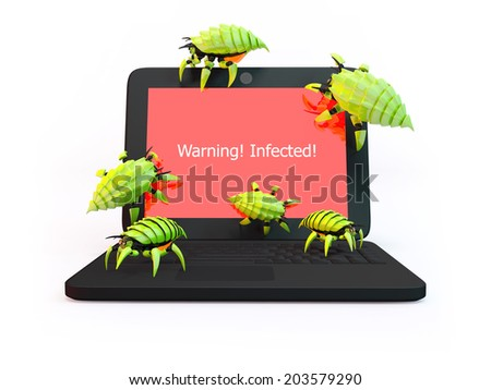 Green viruses attack laptop isolated on white background - stock photo