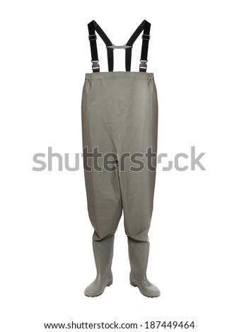 Green Waders for fly fishing isolated on a white background. - stock photo