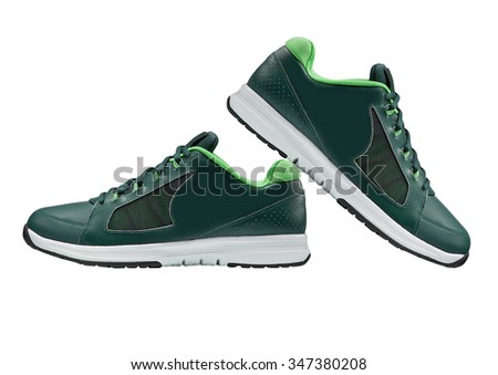 green walking sport shoes isolated on white background - stock photo