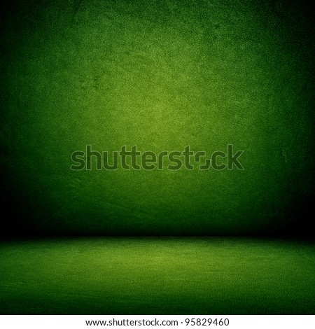 Green wall and floor interior background