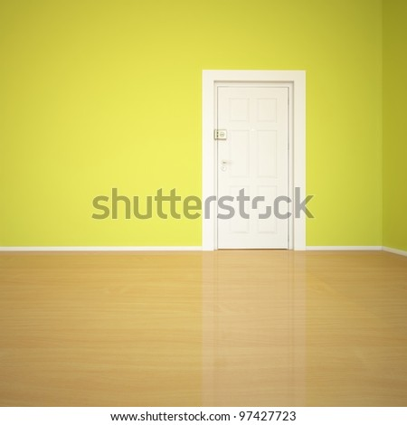 green wall and white door - stock photo