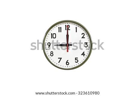 Green wall clock.Nine o'clock - stock photo