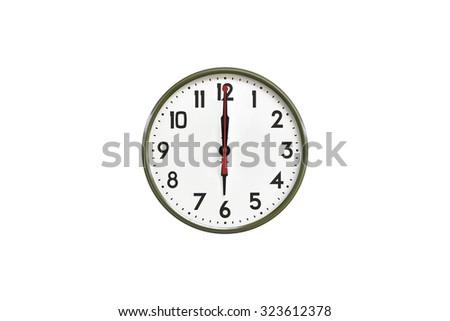 Green wall clock.Six o'clock - stock photo
