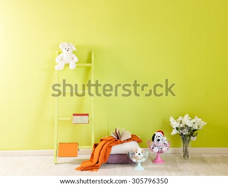 green wall interior and green stairs  - stock photo