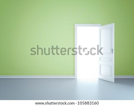 Green wall with opened door - stock photo